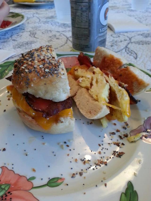 everything bagel bacon egg and cheese